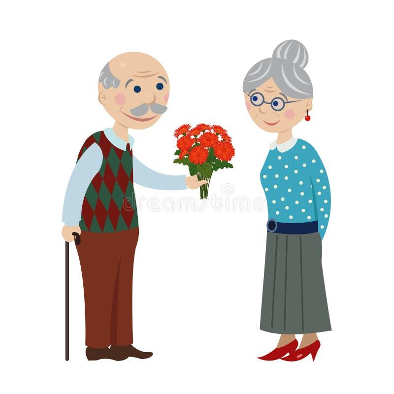Le grand-papa donne la grand-mère de fleurs illustration stock
