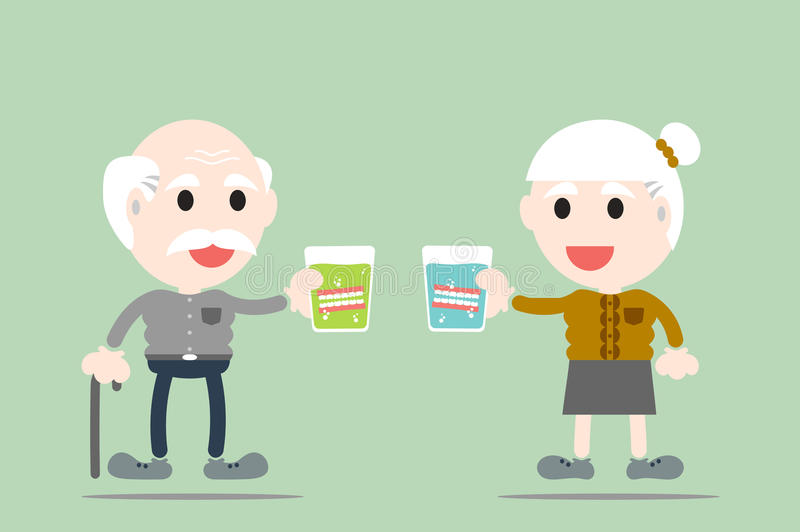 Le grand-parent tiennent le dentier en verre illustration libre de droits