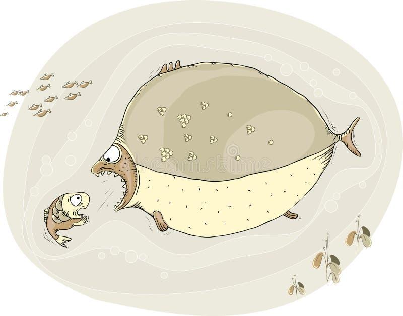 Le grand poisson veut attraper petit, qui est dans la grande crainte illustration de vecteur
