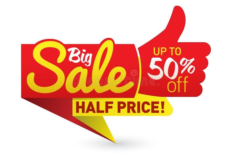 Le grand vecteur d'affaire d'offre des prix de vente marque des autocollants de calibres illustration stock