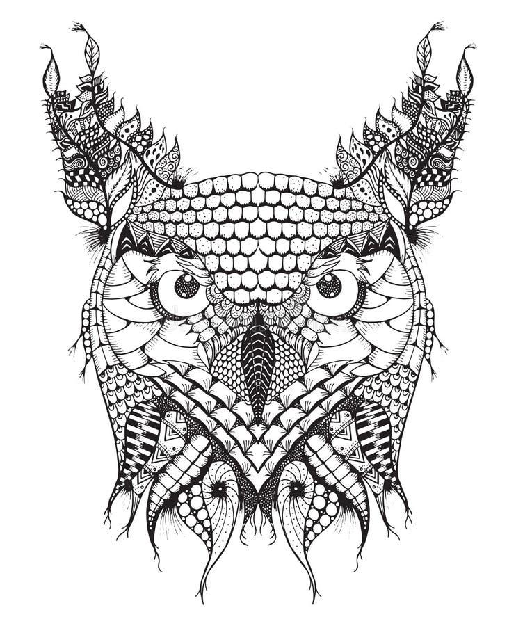 Le grand zentangle de tête de hibou à cornes a stylisé, dirige, illustration, illustration libre de droits