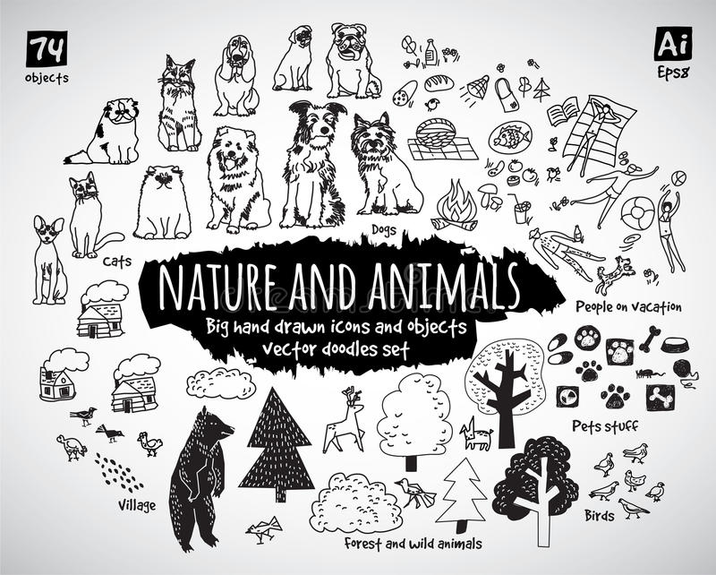 Le grandi icone di scarabocchi dell'animale e della natura del pacco obietta illustrazione di stock