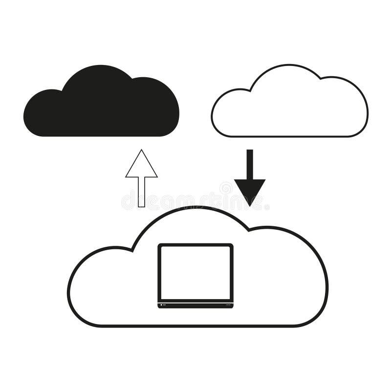 Le grandi nuvole di dati sono icona scambiata del nero di vettore su fondo bianco illustrazione di stock