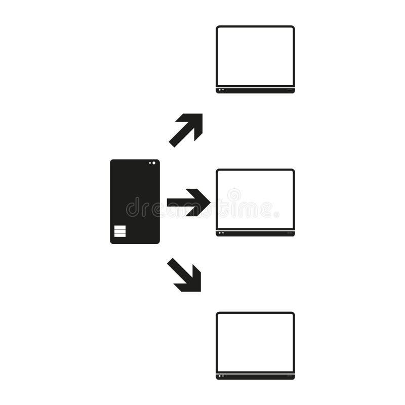 Le grandi parti dell'elaboratore centrale di dati con gli utenti Vector l'icona nera su fondo bianco royalty illustrazione gratis