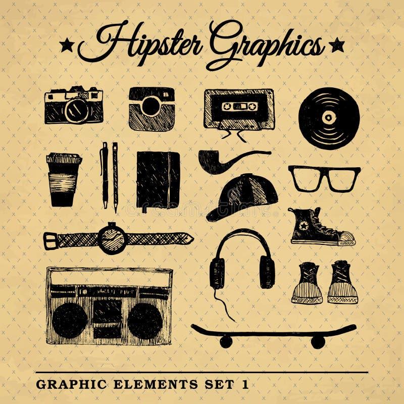 Le graphique d'accessoires de hippie a placé 3 illustration stock