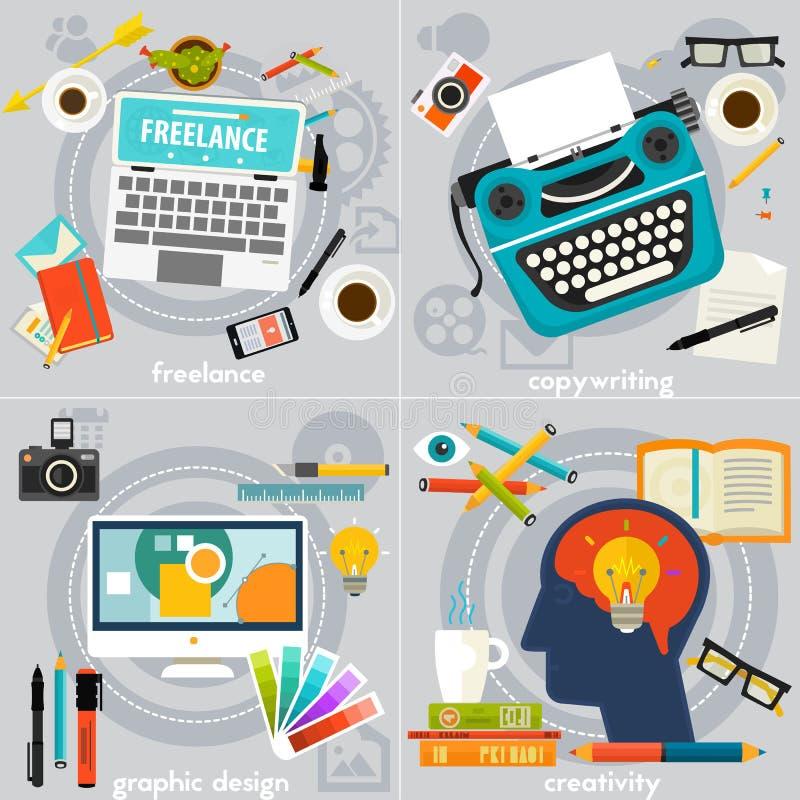 Le graphique daignent, rédaction publicitaire, créativité et bannières indépendantes de concept illustration de vecteur