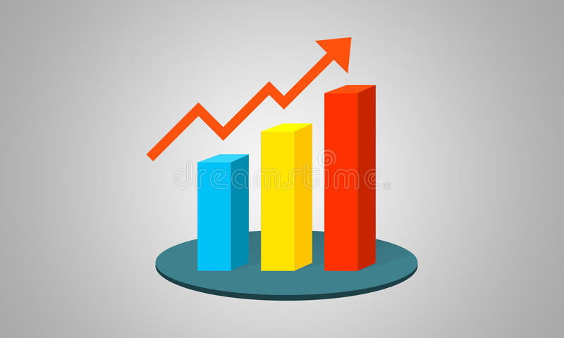 Le graphique de la croissance de trois colonnes image libre de droits