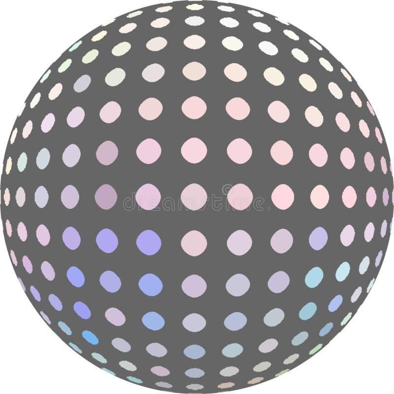 Le graphique tramé bleu lilas de la boule 3d de mosaïque de rose d'hologramme a isolé Macro d'objet abstrait illustration de vecteur