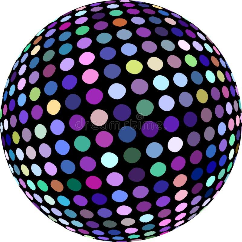 Le graphique violet bleu pourpre de la sphère 3d de mosaïque a isolé Signe de boule de disco de miroitement illustration libre de droits