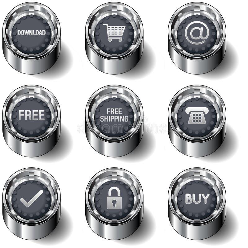 Le graphisme de commerce électronique a placé sur des boutons de vecteur illustration de vecteur