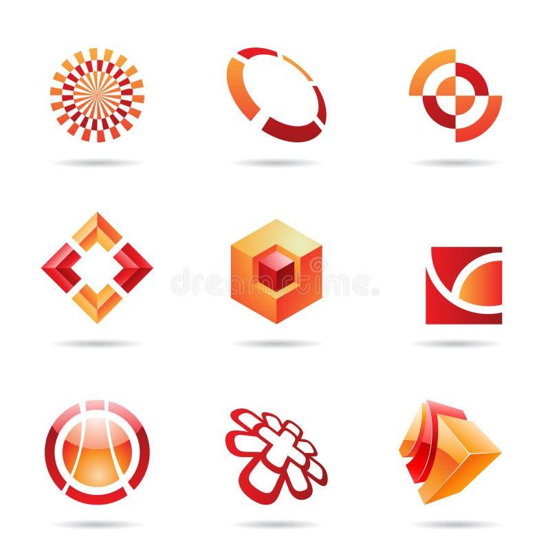Le graphisme rouge et orange abstrait a placé 24 illustration stock