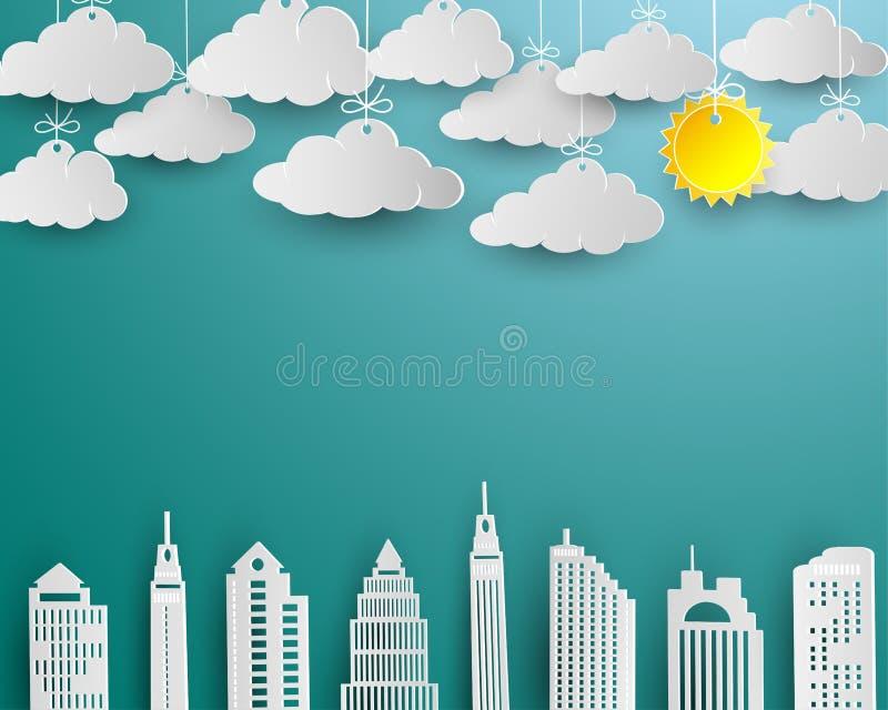 Le gratte-ciel et le nuage dans l'art de livre blanc conçoivent, bâtiment d'architecture dans le paysage de vue de panorama illustration libre de droits