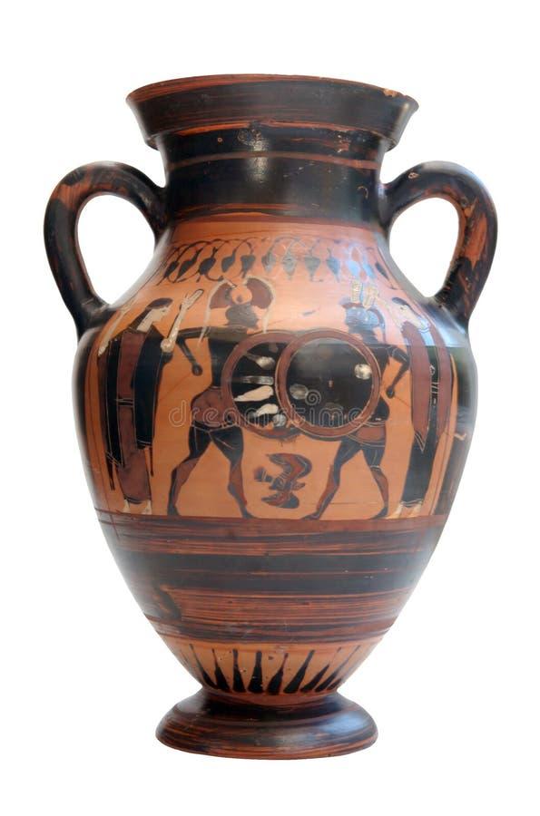 le grec ancien d'amphora d'isolement photographie stock libre de droits