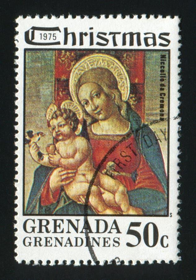 LE GRENADA - VERS 1975 : Un timbre de courrier de Noël imprimé au Grenada photographie stock