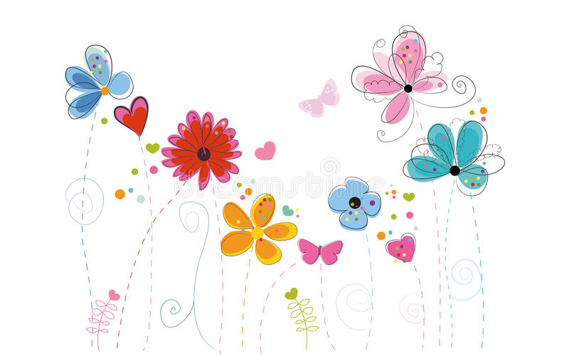 Le griffonnage abstrait coloré de printemps fleurit le fond de vecteur illustration de vecteur