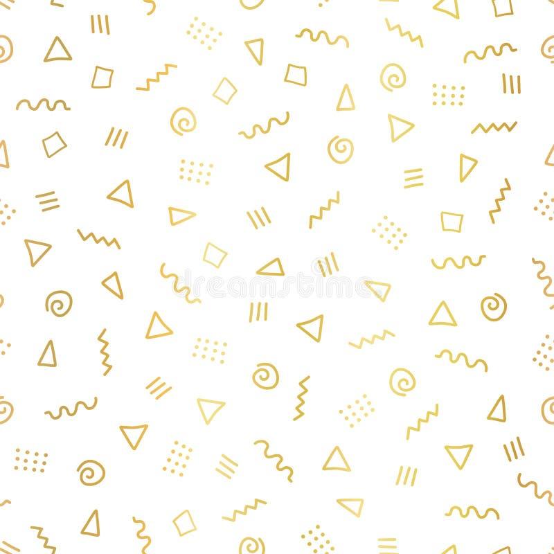 Le griffonnage abstrait de feuille d'or forme le fond sans couture de vecteur Triangles d'or métalliques brillantes, pirouettes,  illustration libre de droits