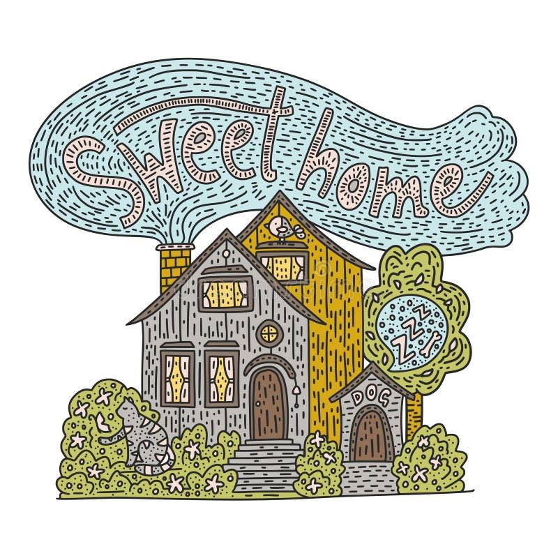 Le griffonnage de pays a détaillé le cottage avec le lettrage tiré par la main - maison douce illustration de vecteur