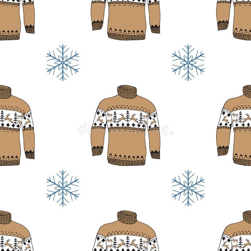 Le griffonnage de saison d'hiver vêtx le modèle sans couture illustration stock