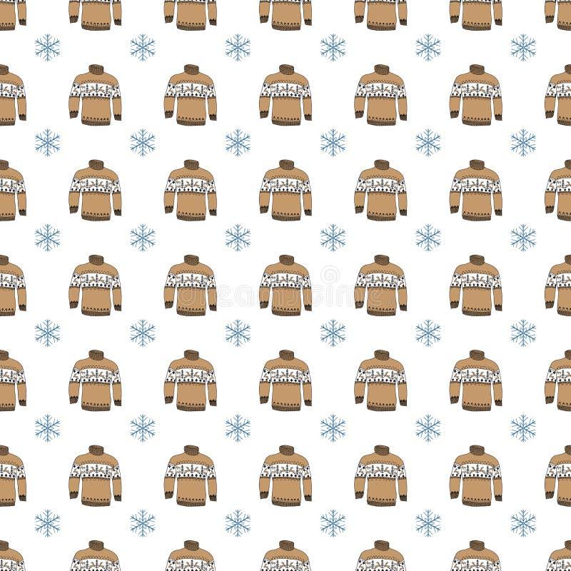 Le griffonnage de saison d'hiver vêtx le modèle sans couture Les éléments tirés par la main de croquis chauffent des chaussettes, illustration stock