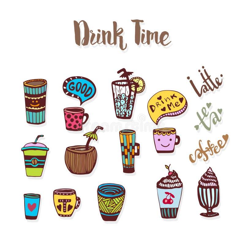 Le griffonnage de thé et de café a esquissé des icônes Collection d'icône de croquis avec des tasses Vecteur illustration de vecteur