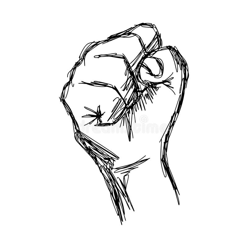 Le griffonnage de vecteur d'illustration tiré par la main du croquis a soulevé le poing, pro illustration stock
