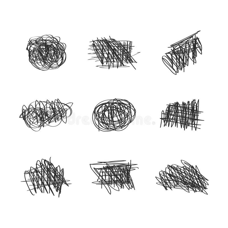 Le griffonnage et les griffonnages denses tirés par la main aléatoires à l'encre noire conçoivent l'ensemble d'élément illustration stock