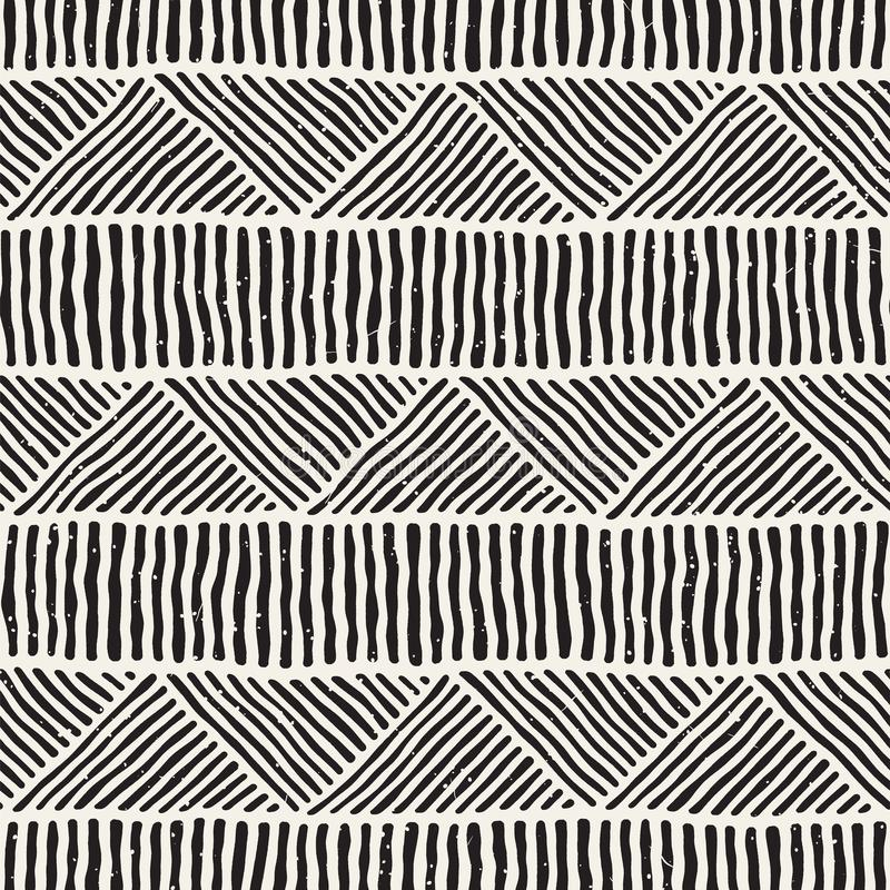 Le griffonnage géométrique sans couture raye le modèle en noir et blanc Texture tirée par la main d'Adstract rétro illustration libre de droits