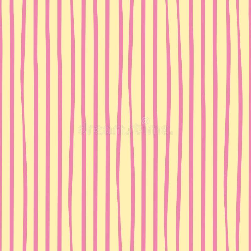 Le griffonnage rose à main levée irrégulier barre le dessin géométrique vertical Modèle sans couture de vecteur sur le fond jaune illustration de vecteur