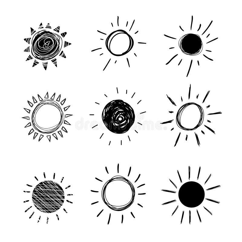 Le griffonnage Sun, ensemble de vecteur d'icônes noires tirées par la main a isolé illustration libre de droits