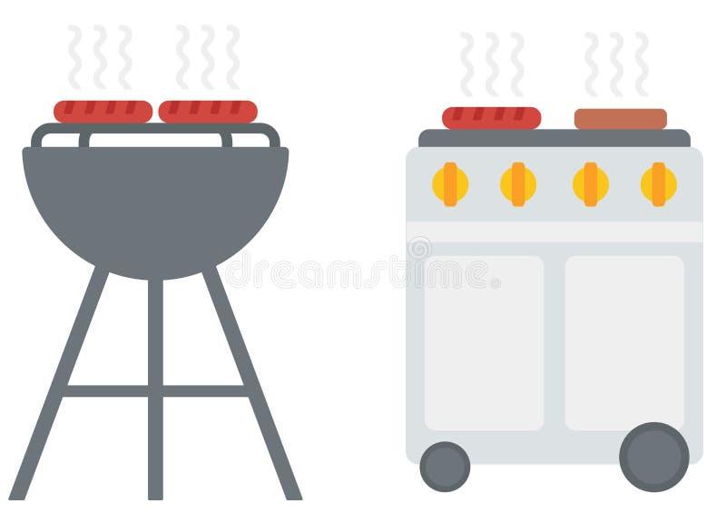 Le gril de barbecue de bouilloire avec la couverture et le barbecue intoxiquent le gril illustration de vecteur