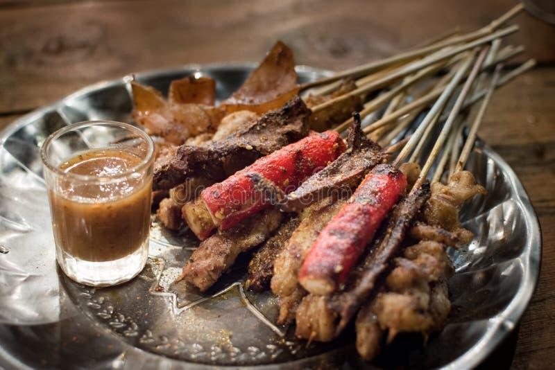 Le gril de porc avec des épices appellent le ` de Mha-Lha de ` image stock