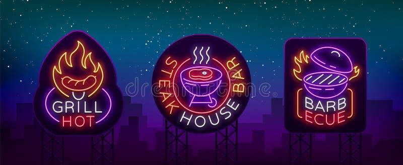 Le gril est un ensemble de logos de style du néon Dirigez l'illustration sur le thème de la nourriture, viande de la même chose C illustration de vecteur
