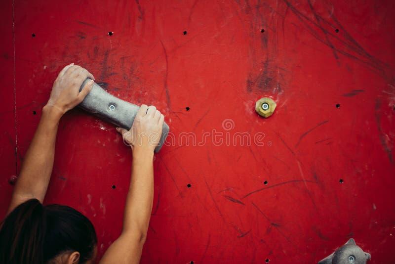 Le grimpeur féminin remet tenir le rocher artificiel dans le gymnase s'élevant, tir de plan rapproché photo libre de droits