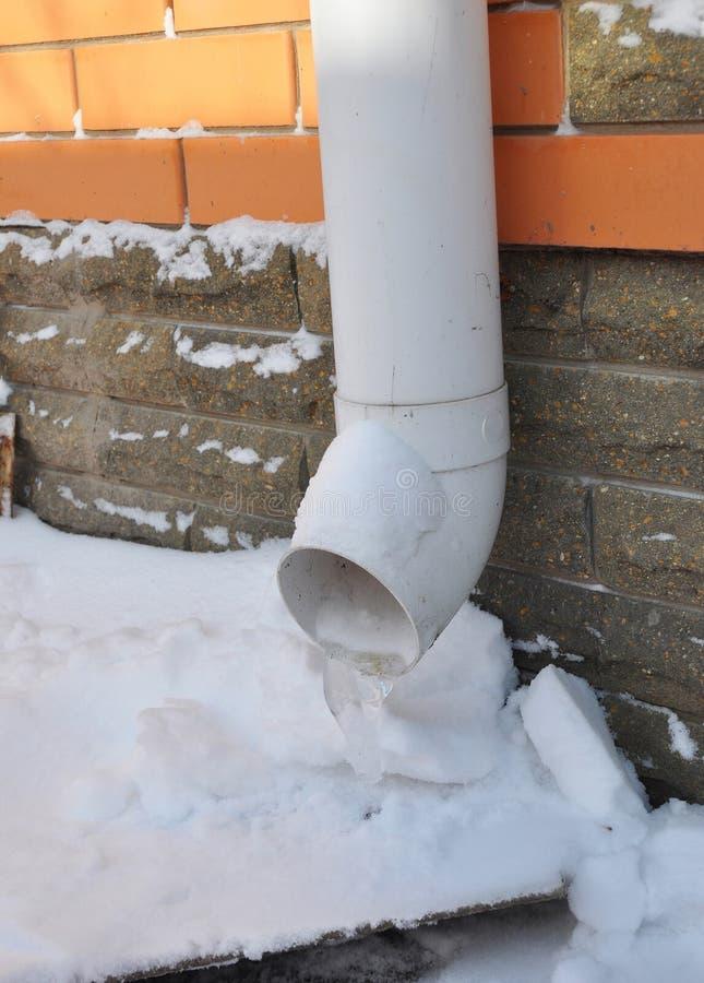 Le grondaie e gli incanalamenti a volte si congelano nei blocchi solidi di ghiaccio immagini stock