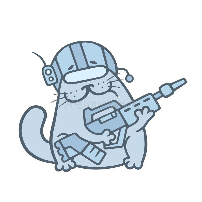 Le gros chat mignon est combattant futuriste Illustration de vecteur illustration libre de droits