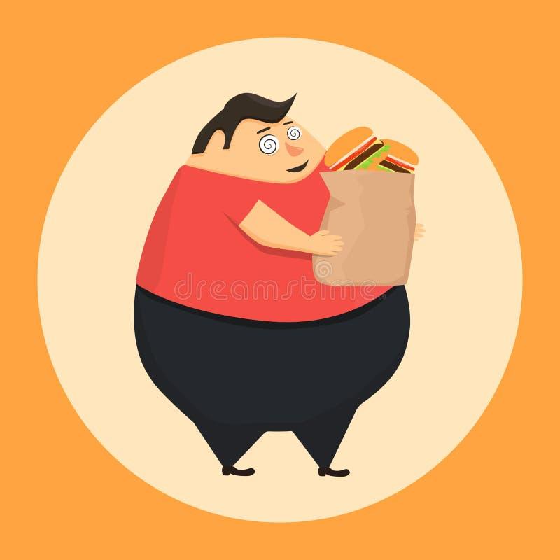 Le gros homme dans l'état d'hypnose veut l'hamburger illustration libre de droits