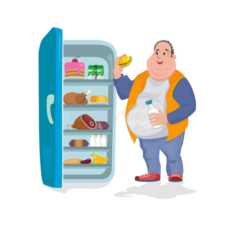 Le gros homme mange un hamburger dans un réfrigérateur ouvert en lequel il y a beaucoup de nourritures illustration libre de droits