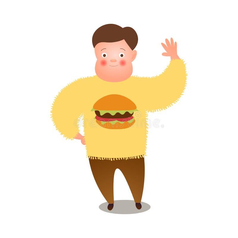 Le gros homme mignon disent bonjour à toutes les personnes, chandail jaune d'hamburger illustration de vecteur