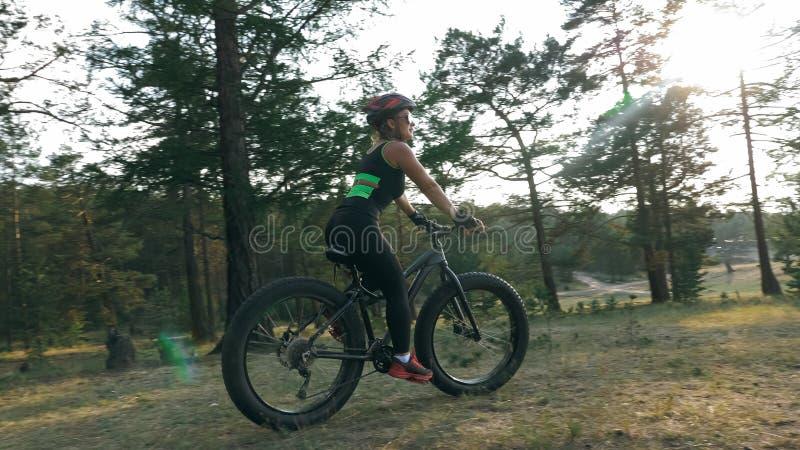 Le gros vélo a également appelé le vélo de fatbike ou de gros-pneu dans l'équitation d'été dans la forêt photo stock