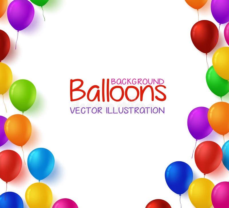 Le groupe coloré de joyeux anniversaire monte en ballon le fond de vecteur illustration de vecteur
