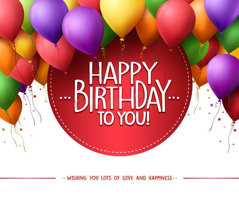 Le groupe coloré de joyeux anniversaire monte en ballon le vol pour la partie et les célébrations illustration libre de droits
