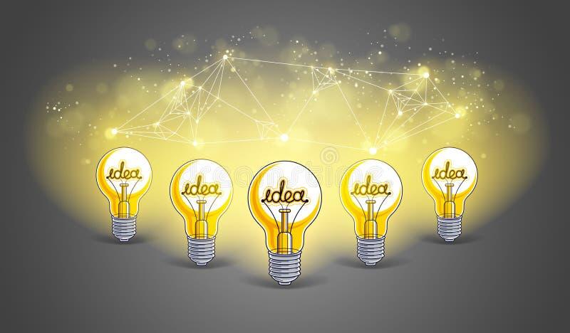 Le groupe d'ampoules brillantes repr?sente l'id?e du travail d'?quipe cr?atif de personnes ayant des id?es fonctionnant ensemble, illustration de vecteur