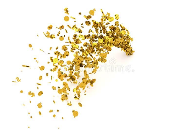 Le groupe d'argent, l'or, le symbole dollar ou les pièces de monnaie découlent du plancher, du fond moderne de style ou de la tex illustration de vecteur