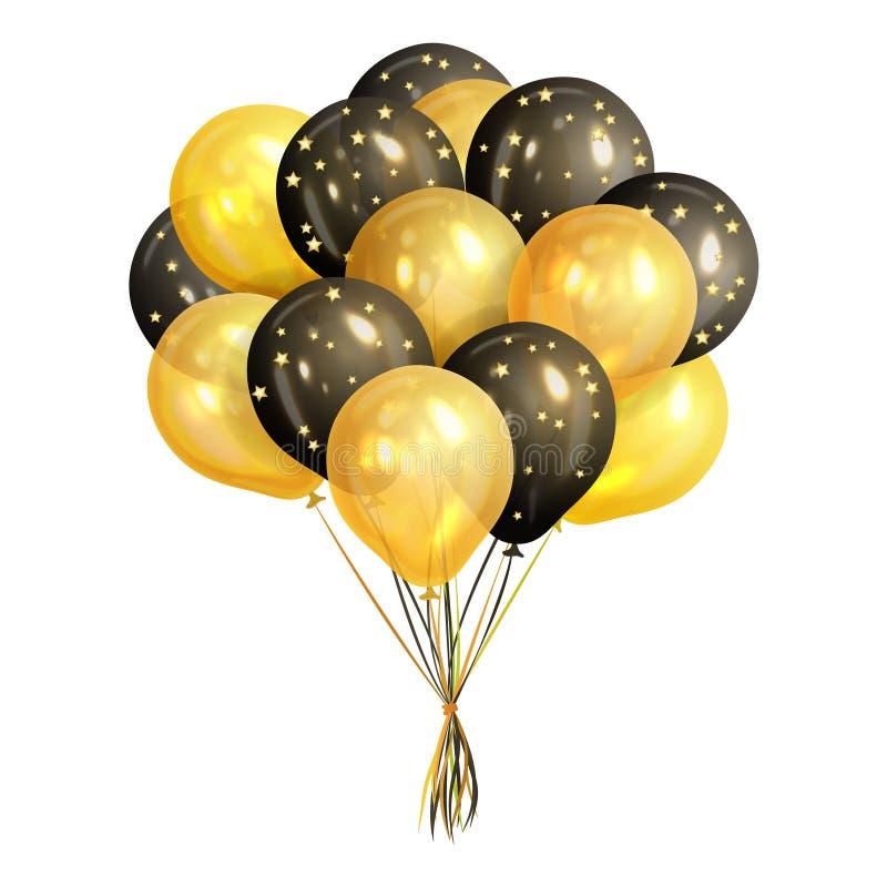 Le groupe d'hélium réaliste de noir et d'or monte en ballon illustration stock