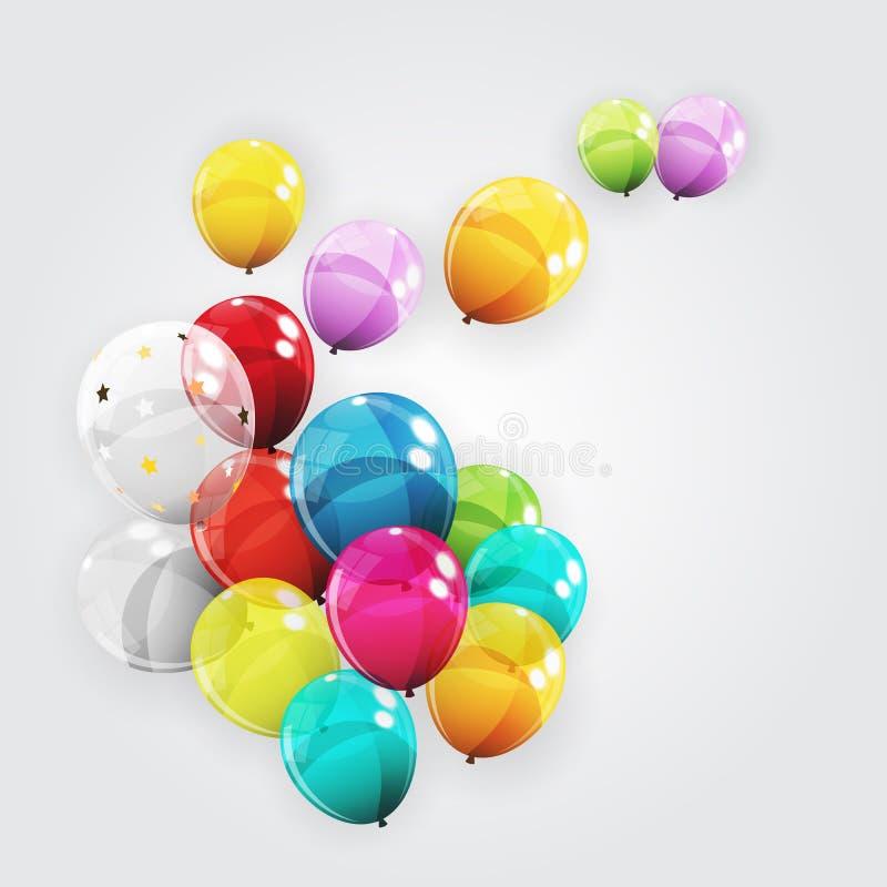 Le groupe d'h?lium brillant de couleur monte en ballon le fond illustration de vecteur