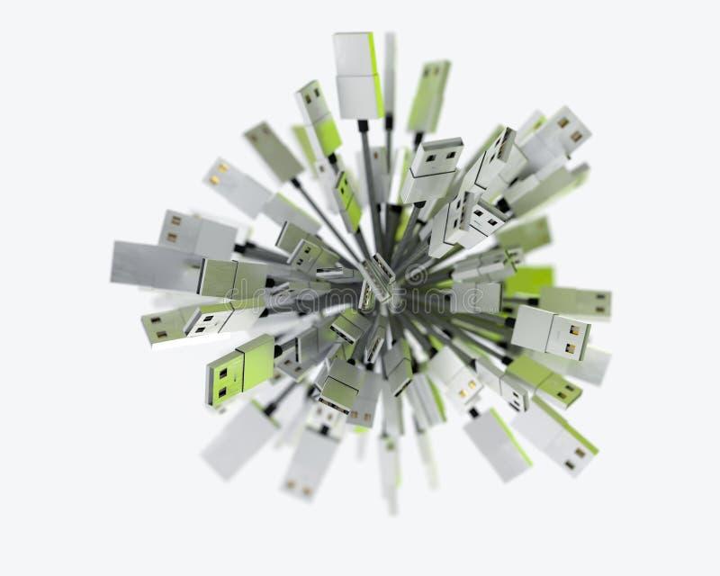 Le groupe d'USB câble former une sphère dans le feu vert photos libres de droits