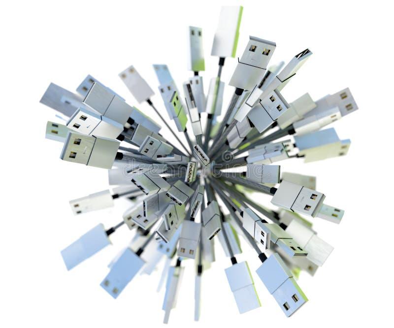 Le groupe d'USB câble former une sphère dans la lumière verte de bleu d'american national standard image libre de droits