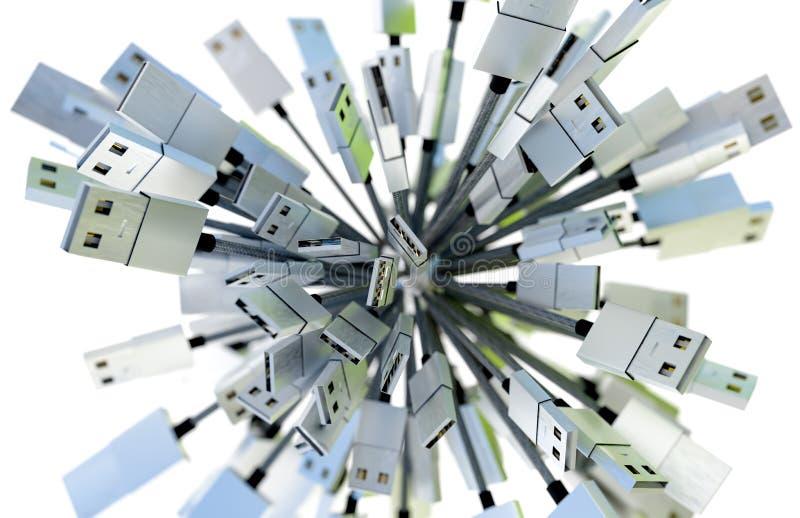 Le groupe d'USB câble former une sphère dans la lumière verte et bleue photos stock