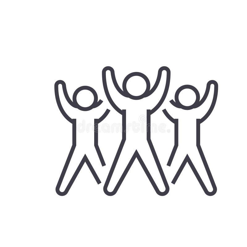 Le groupe de forme physique, illustration au trait plat, vecteur aérobic de concept a isolé l'icône sur le fond blanc illustration libre de droits