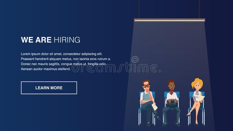 Le groupe de l'employé songeur s'asseyent sur la chaise dans la ligne illustration de vecteur